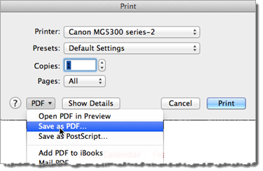 PDF Settings Mac OS Print Window