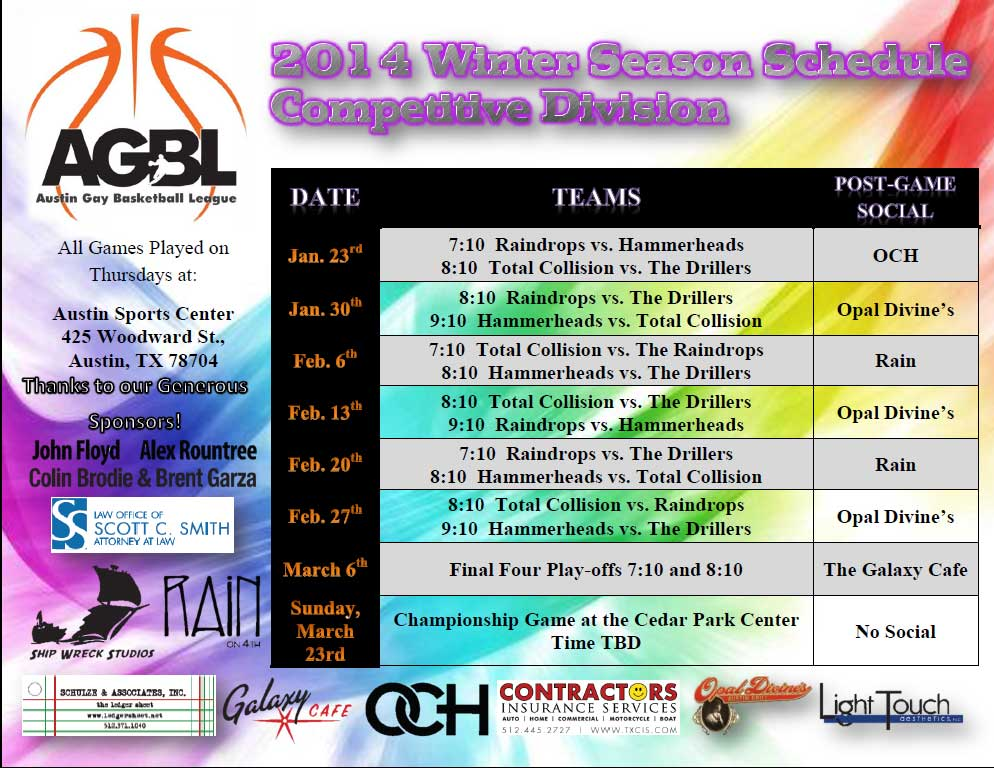AGBL Competitive Schedule