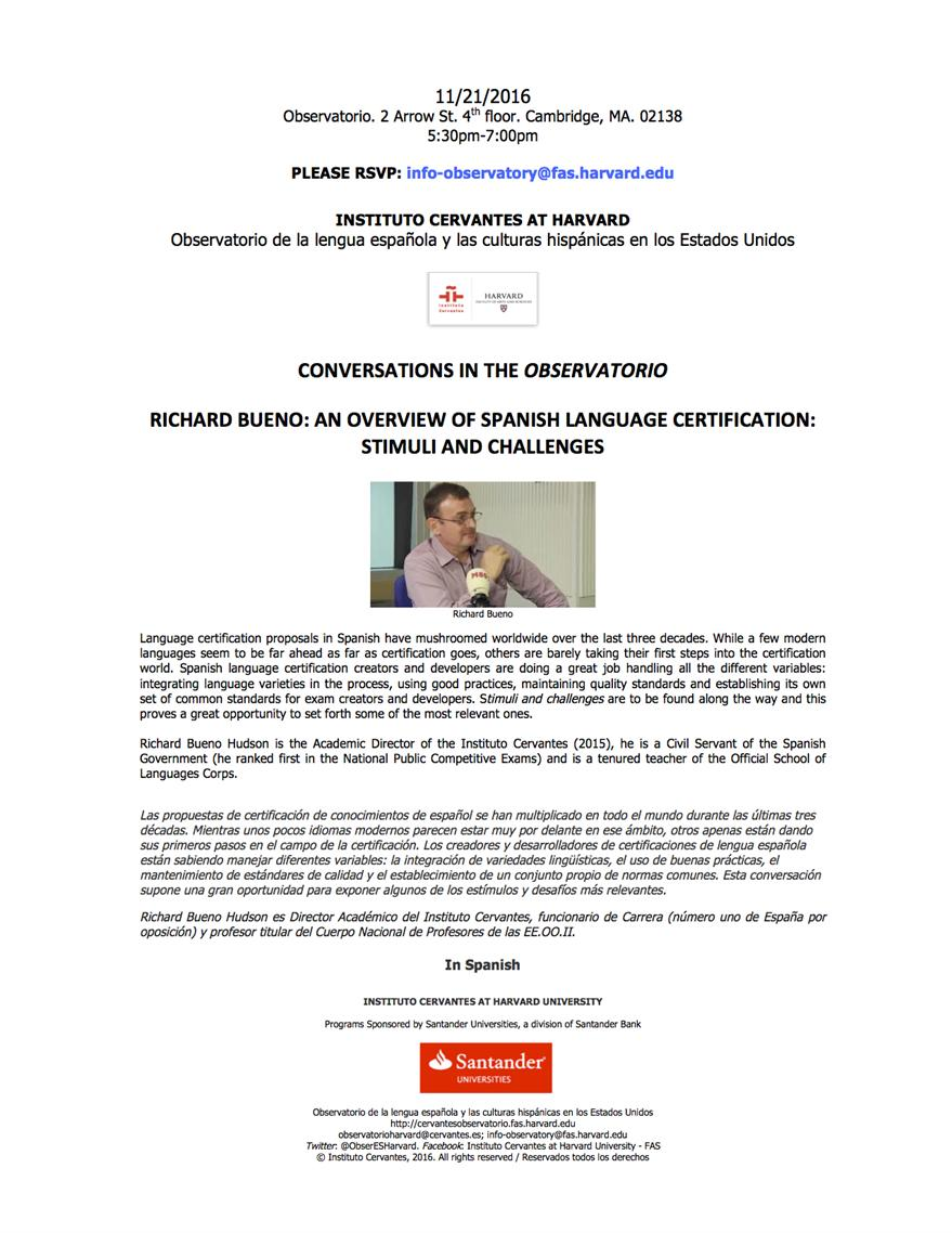 Conversaciones en el observatorio richard bueno an overview of language certification proposals in spanish have mushroomed worldwide over the last three decades while a few modern languages seem to be far ahead as far xflitez Images