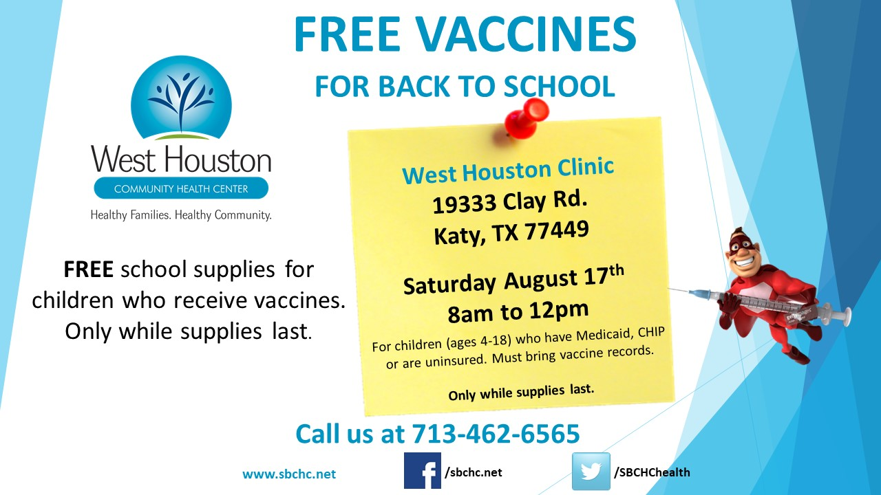 SBCHC Back to School Vaccine Drive