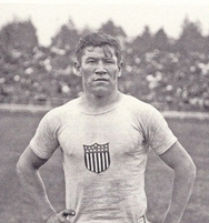 Jim Thorpe at the 1912 Olympics in Stockholm, Sweden. Photo by Branger/Roger-Viollet/Getty Images.
