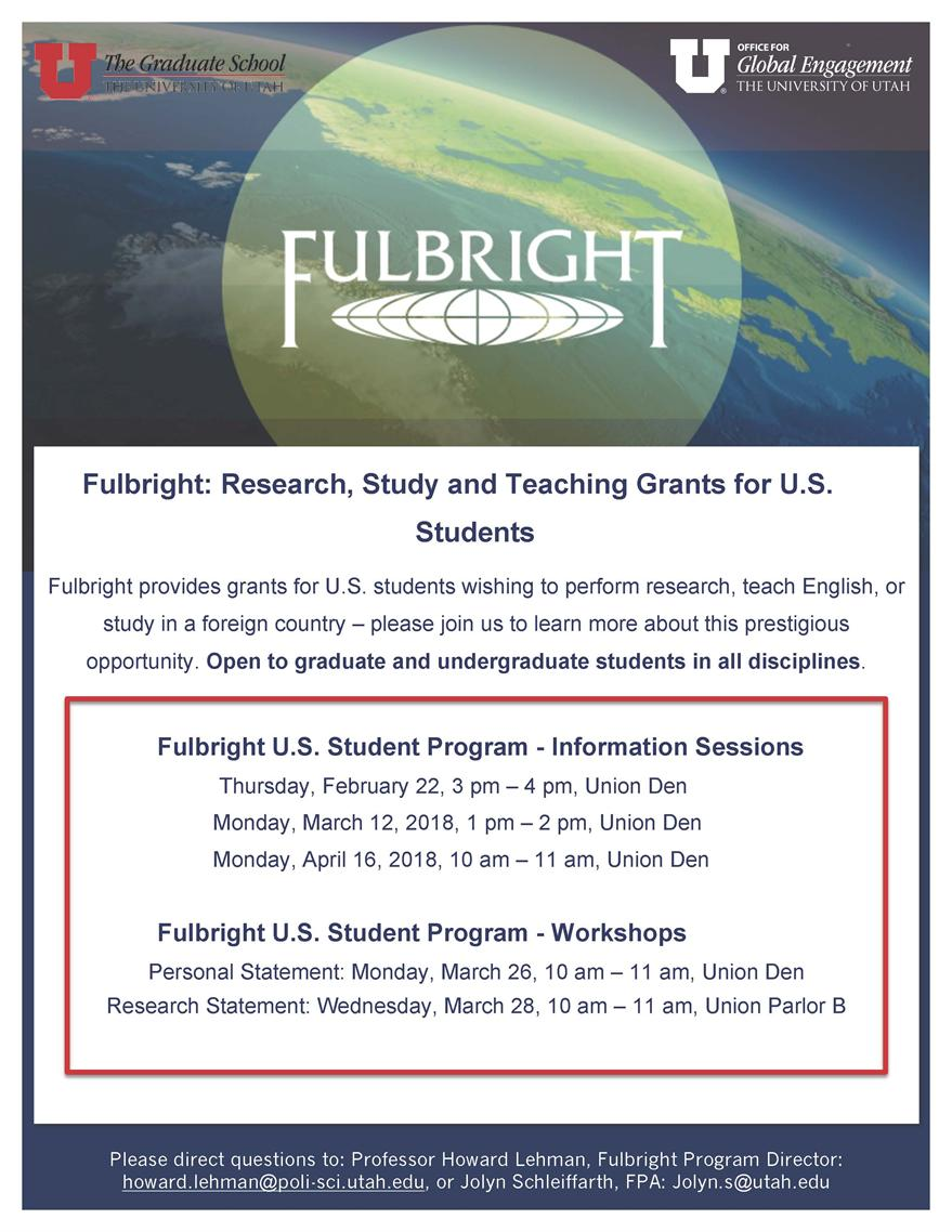 Fulbright: Research, Study and Teaching Grants for U.S. Students