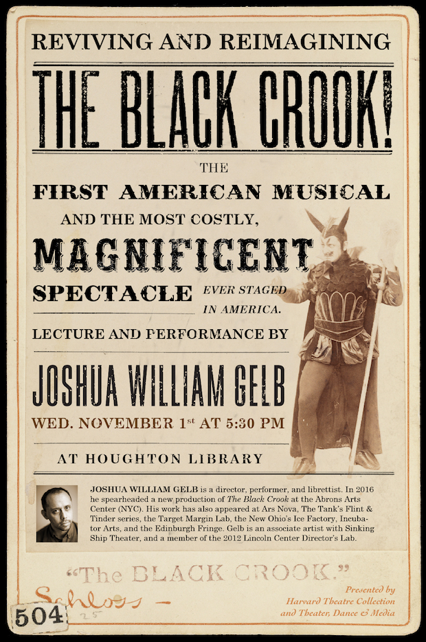 Reviving and Reimagining 'The Black Crook': A Lecture and Performance by Joshua William Gelb