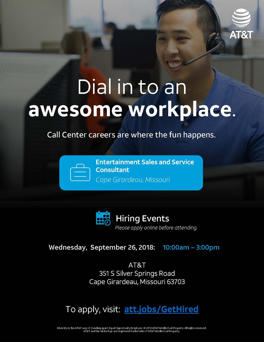 AT&T Entertainment Sales and Service Consultant Hiring Event