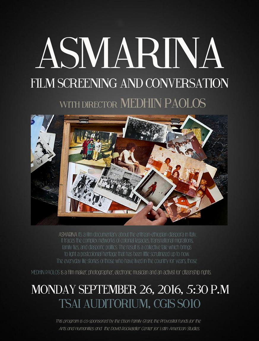 Asmarina Film Screening and Discussion with Director Medhin Paolos