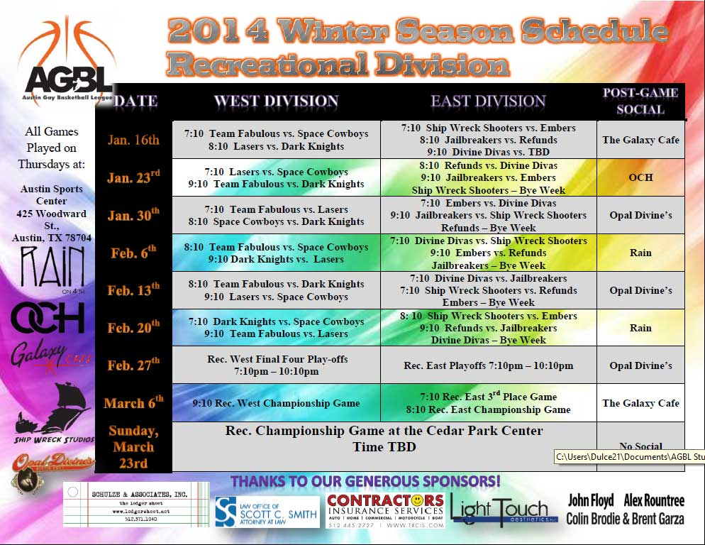 AGBL Recreational Schedule