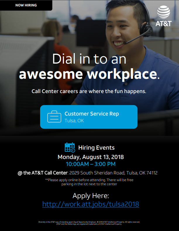 AT&T Customer Service Hiring Event in Tulsa, OK