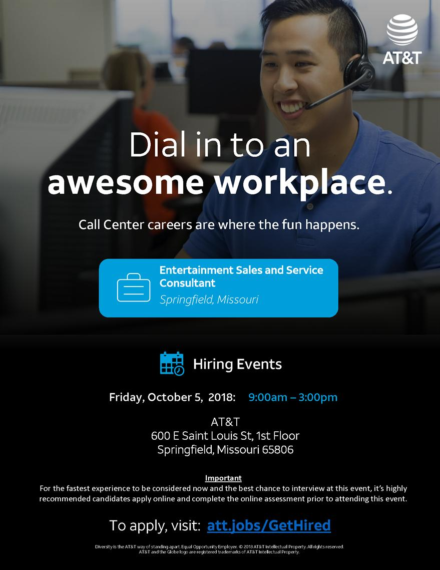 AT&T Entertainment Sales and Service Consultant Interview / Job Offers Hiring Event