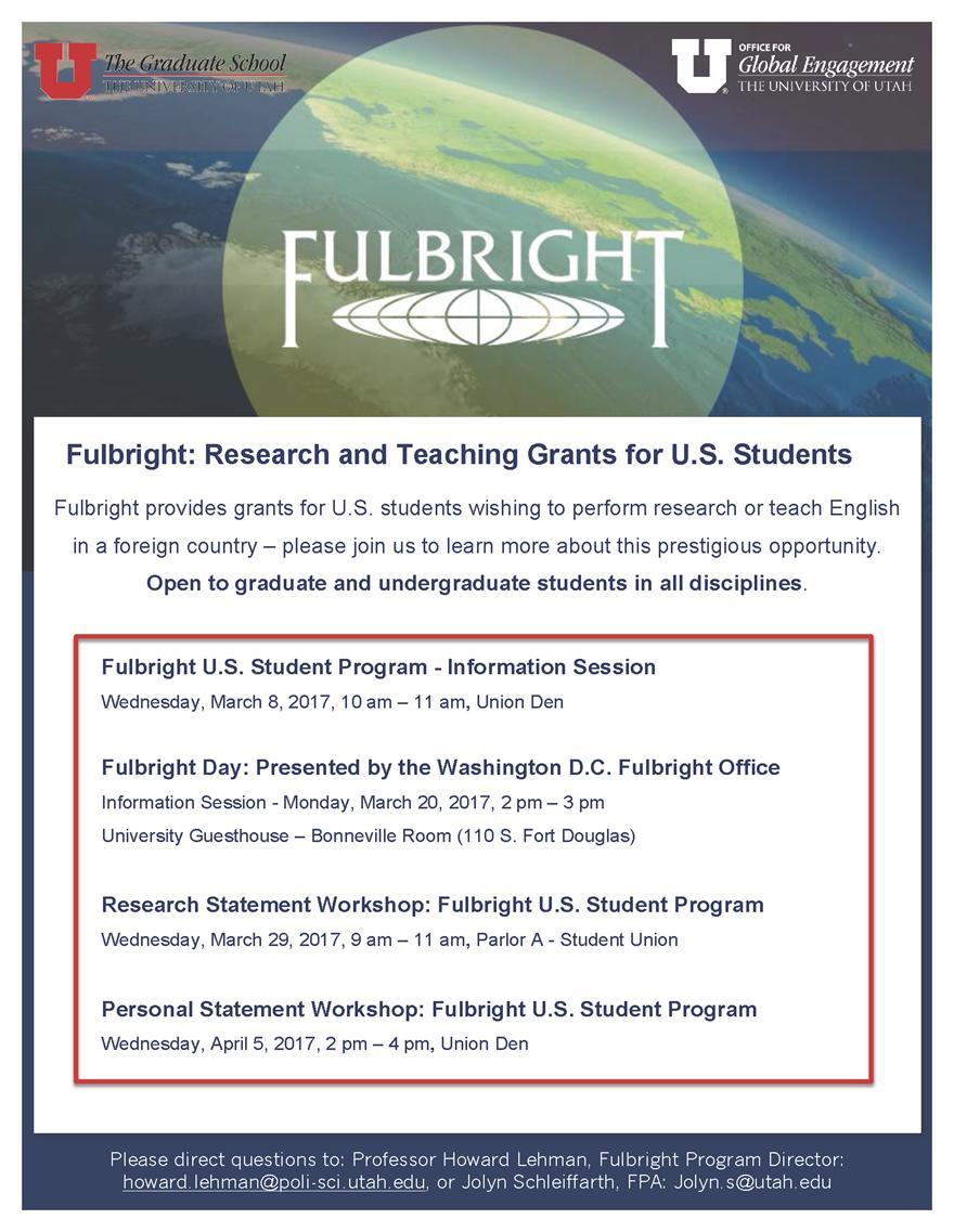 Research Statement Workshop: Fulbright U.S. Student Program