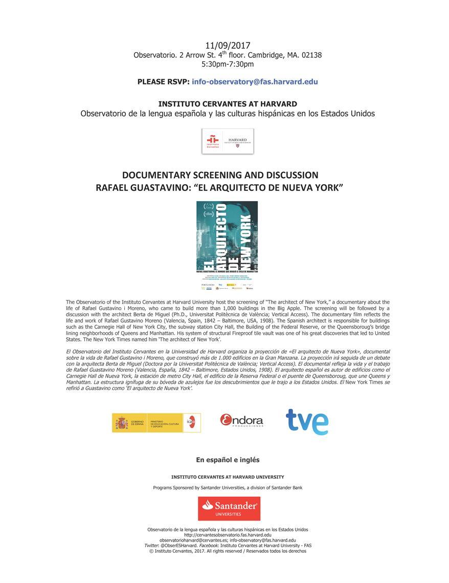 """Documentary Screening and Discussion. Rafael Guastavino: """"El arquitecto de Nueva York"""""""