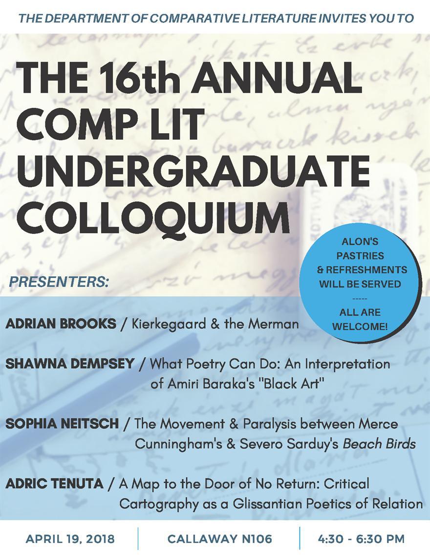Comp Lit 16th Annual Undergrad Colloquium