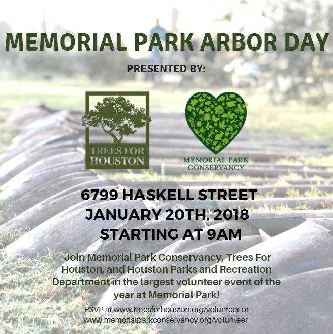 Memorial Park Arbor Day Presented by: Trees For Houston and Memorial Park Conservancy