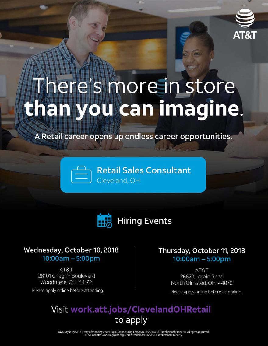 AT&T Part-time Retail Sales Consultant Priority Hiring Event
