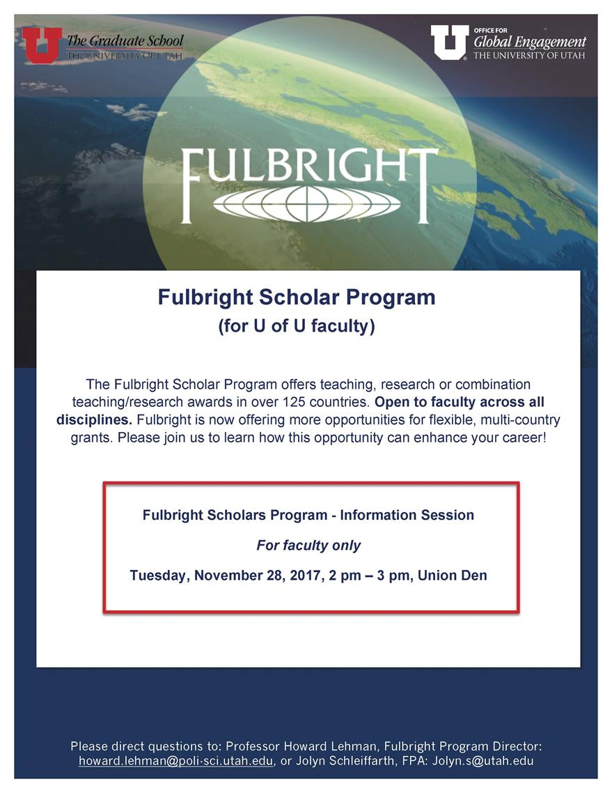 Fulbright Scholars Program - Information Session (FACULTY ONLY)