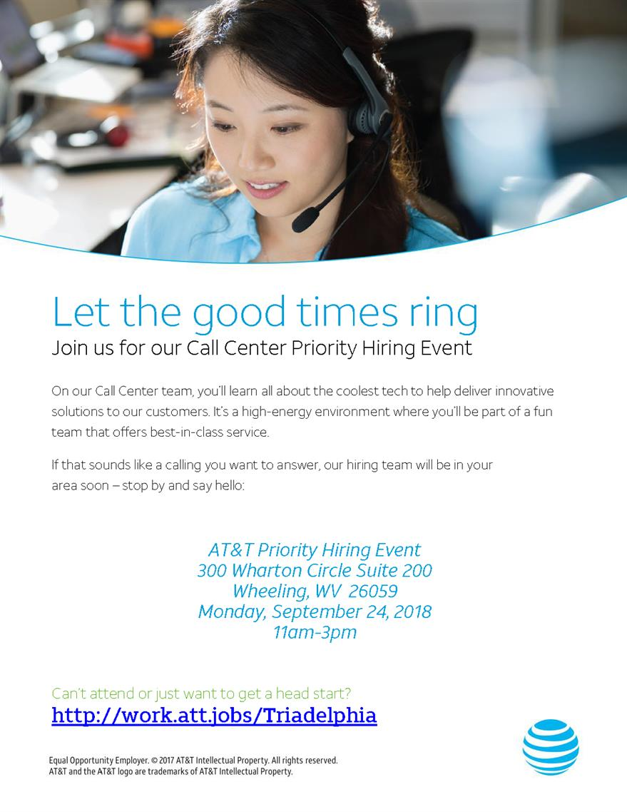 AT&T Priority Hiring Event-Wheeling, WV