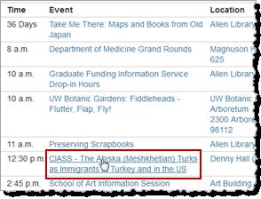 Clicking a description to open event details