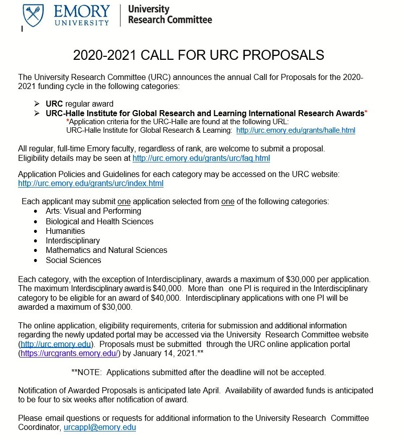 University Research Committee Call for Proposals, Wednesday