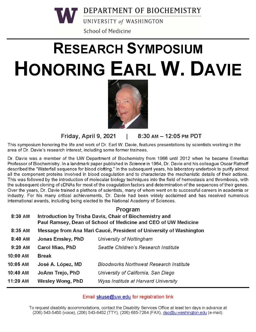 RESEARCH SYMPOSIUM HONORING EARL W. DAVIE - Email skuse AT uw DOT edu for registration link