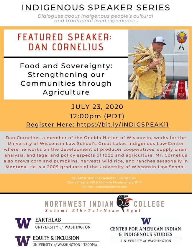 Indigenous Speaker Series: Dan Cornelius