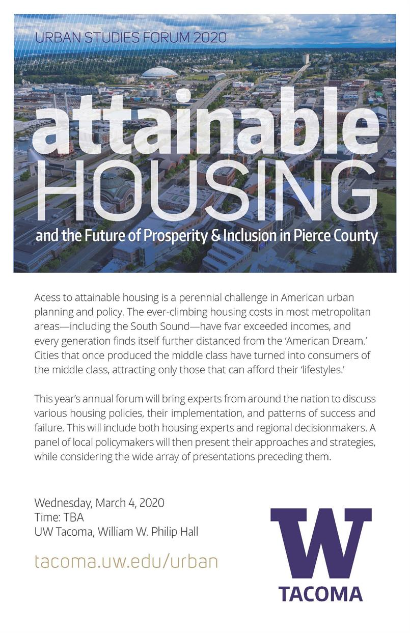 """2020 Urban Studies Forum """"Attainable Housing and the Future of Prosperity & Inclusion in Pierce County"""