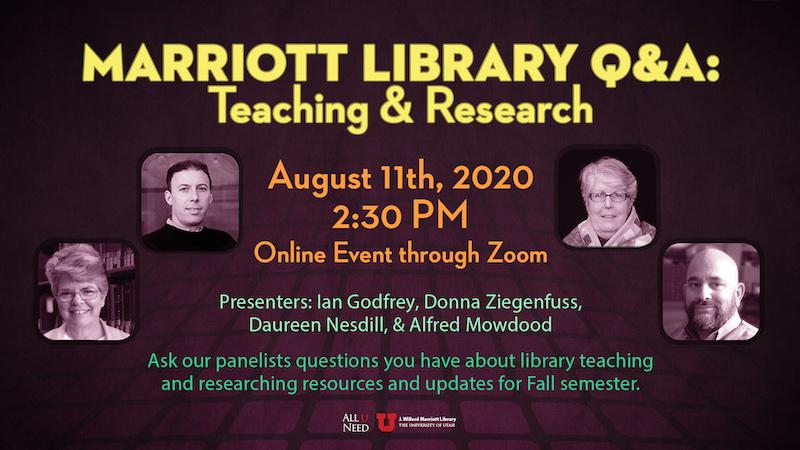 Marriott Library Q&A - Teaching & Research