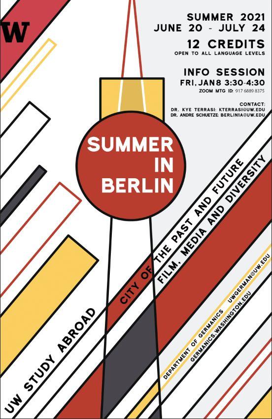 Uw Calendar 2021 Summer in Berlin 2021 Information Session, Friday, Jan 8, 2021, 3