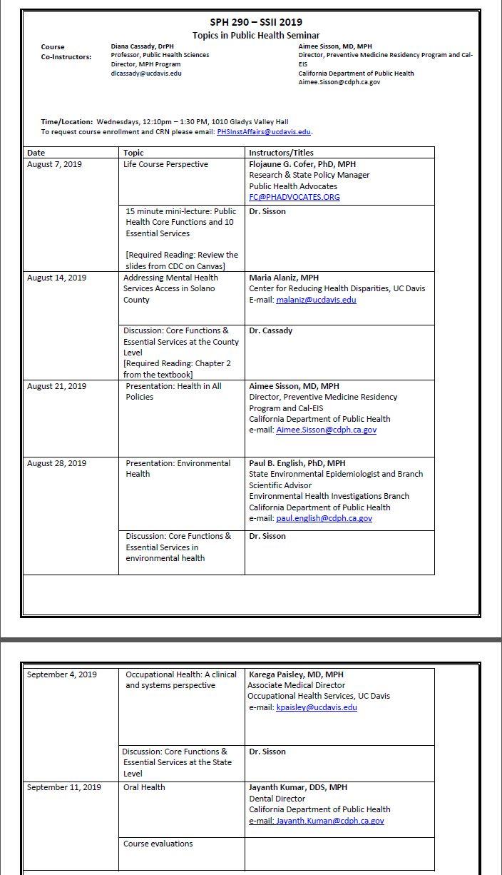 Education Programs - Department of Public Health Sciences