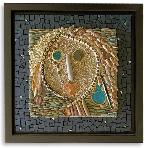 Mosaic & Found Object Assemblage: Fun Faces