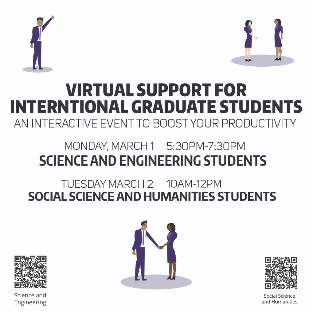 Virtual Support for International Graduate Students: An Interactive Event to Boost Your Productivity (Science and Engineering Students)
