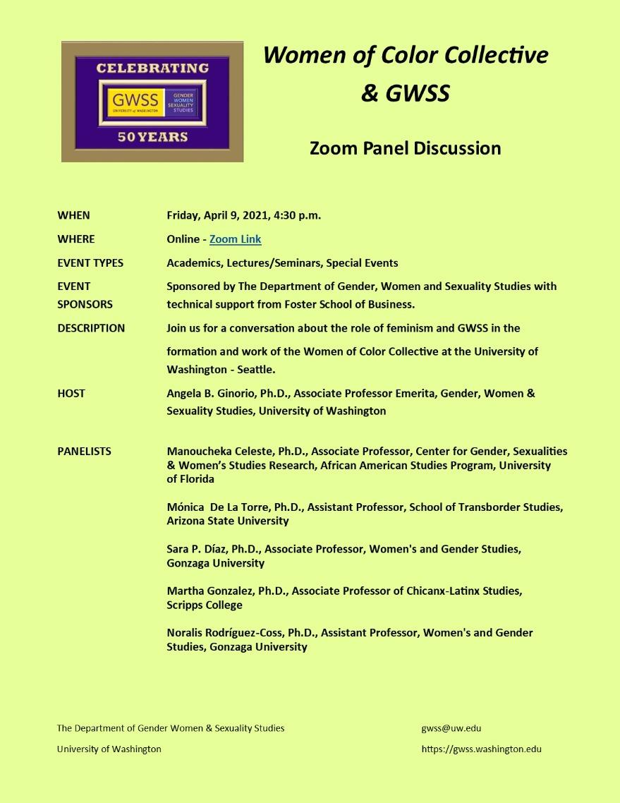 Women of Color Collective & GWSS Online Zoom Event