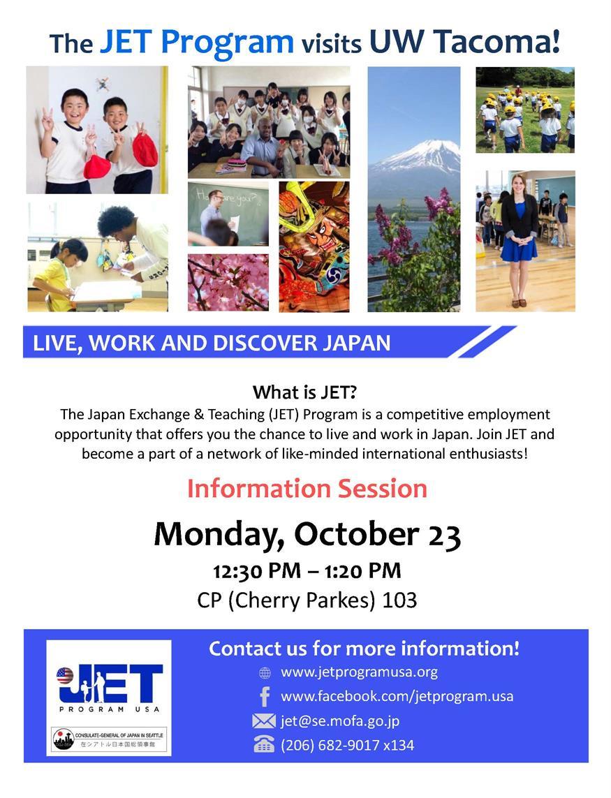 Invitation to Oct 23 JET event at UW Tacoma.