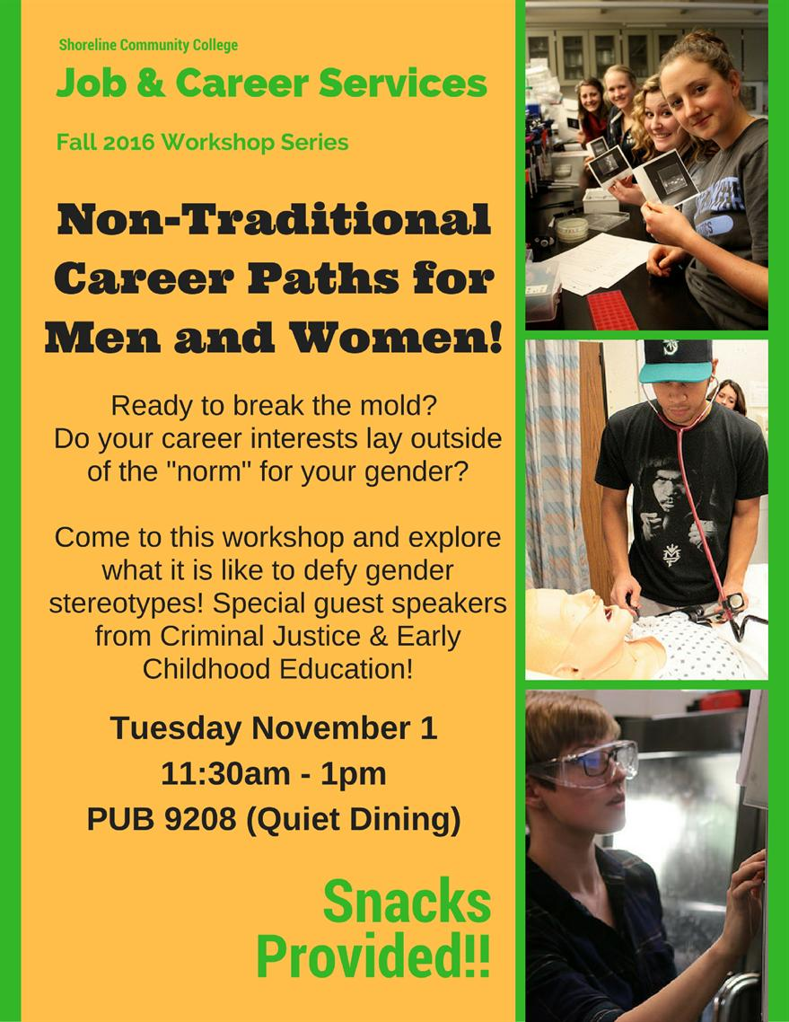 workshops on campus non traditional career paths for men and women