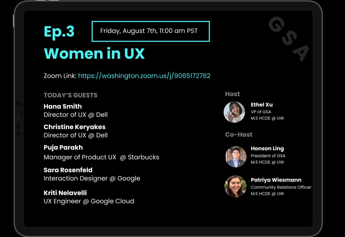 HCDE GSA event: Zoom Interactive Podcast Ep.3 - Women in UX