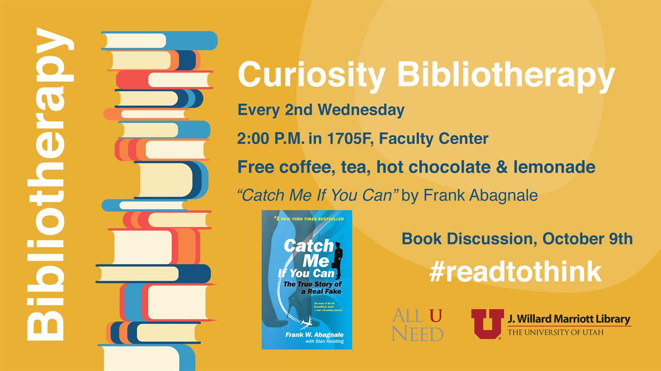"""Curiosity Bibliotherapy Book Discussion - """"Catch Me If You Can"""" by Frank Abagnale"""
