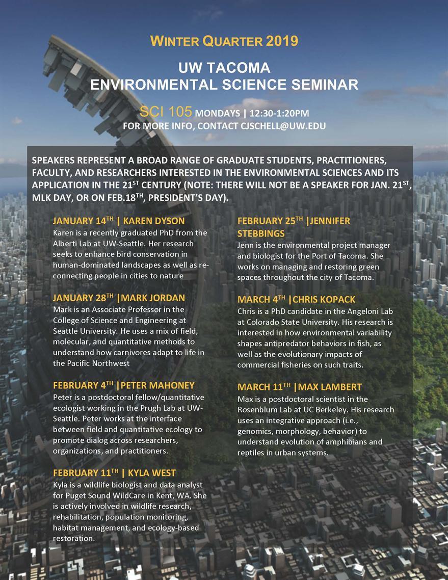 Environmental Science Seminar: Presentation by Karen Dyson