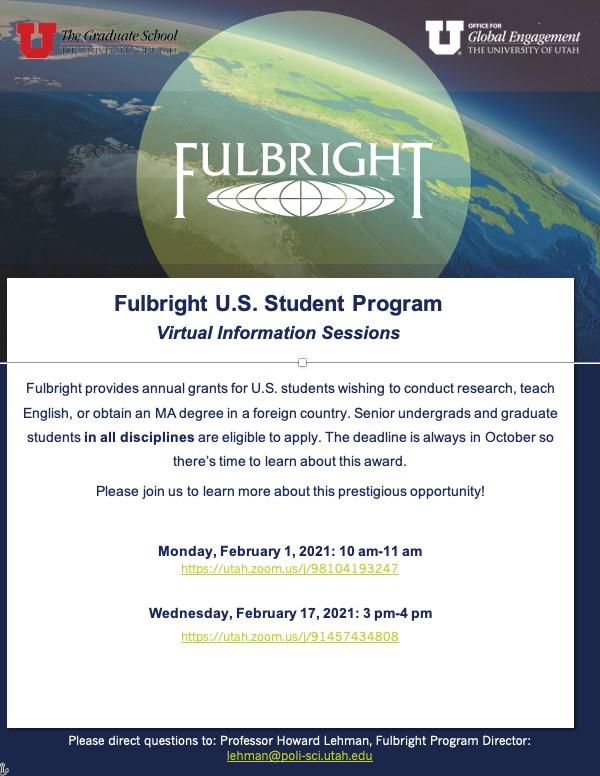 University Of Utah 2021 Calendar Fulbright Virtual Info Session, Wednesday, February 17, 2021, 3