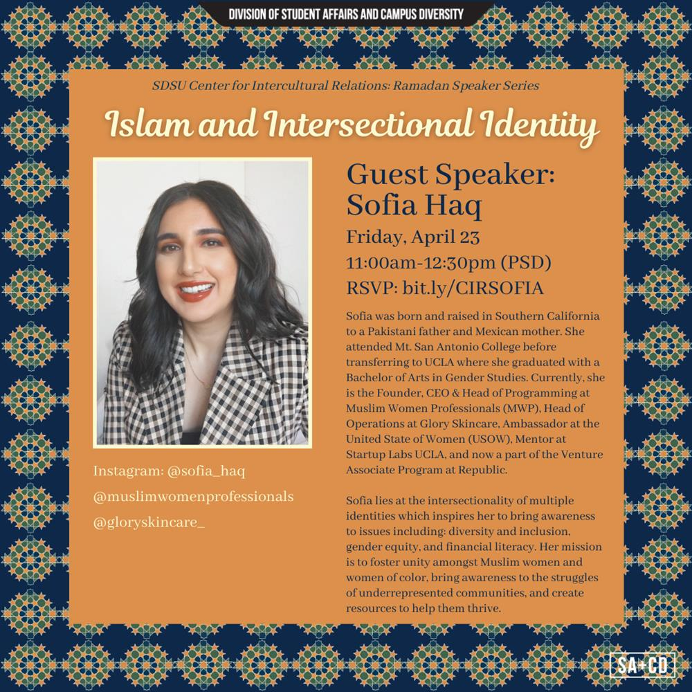 Islam and Intersectional Identity with guest speaker Sofia Haq