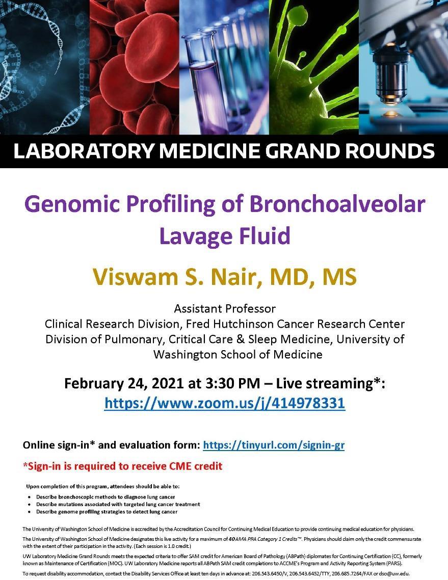 LabMed Grand Rounds: Viswam S. Nair, MD, MS - Genomic Profiling of Bronchoalveolar Lavage Fluid