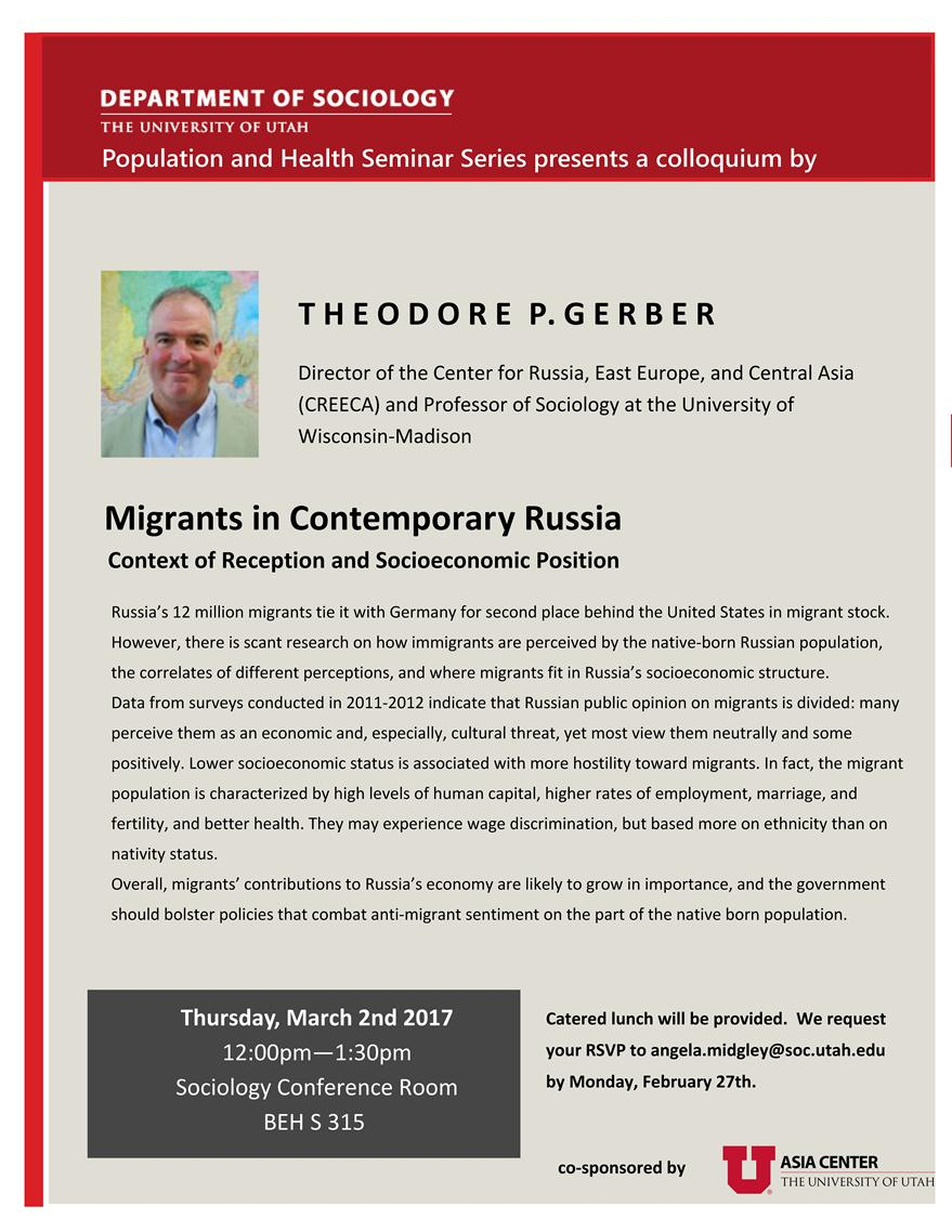 """Migrants in Contemporary Russia: Context of Reception and Socioeconomic Position"""