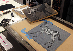 Drop-in & Print Session Relief Printing on Fabric with guest artist Claire Taylor