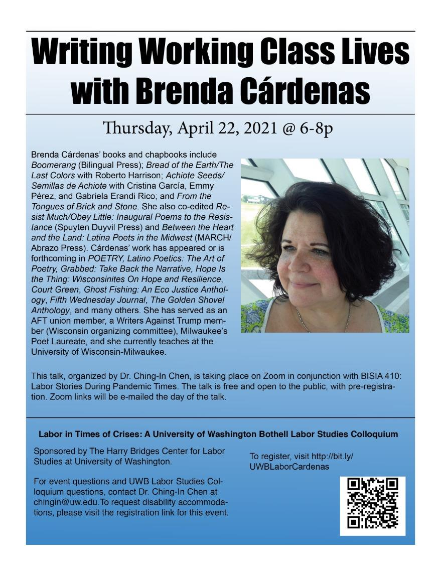"Brenda Cárdenas on ""Writing Working Class Lives"""