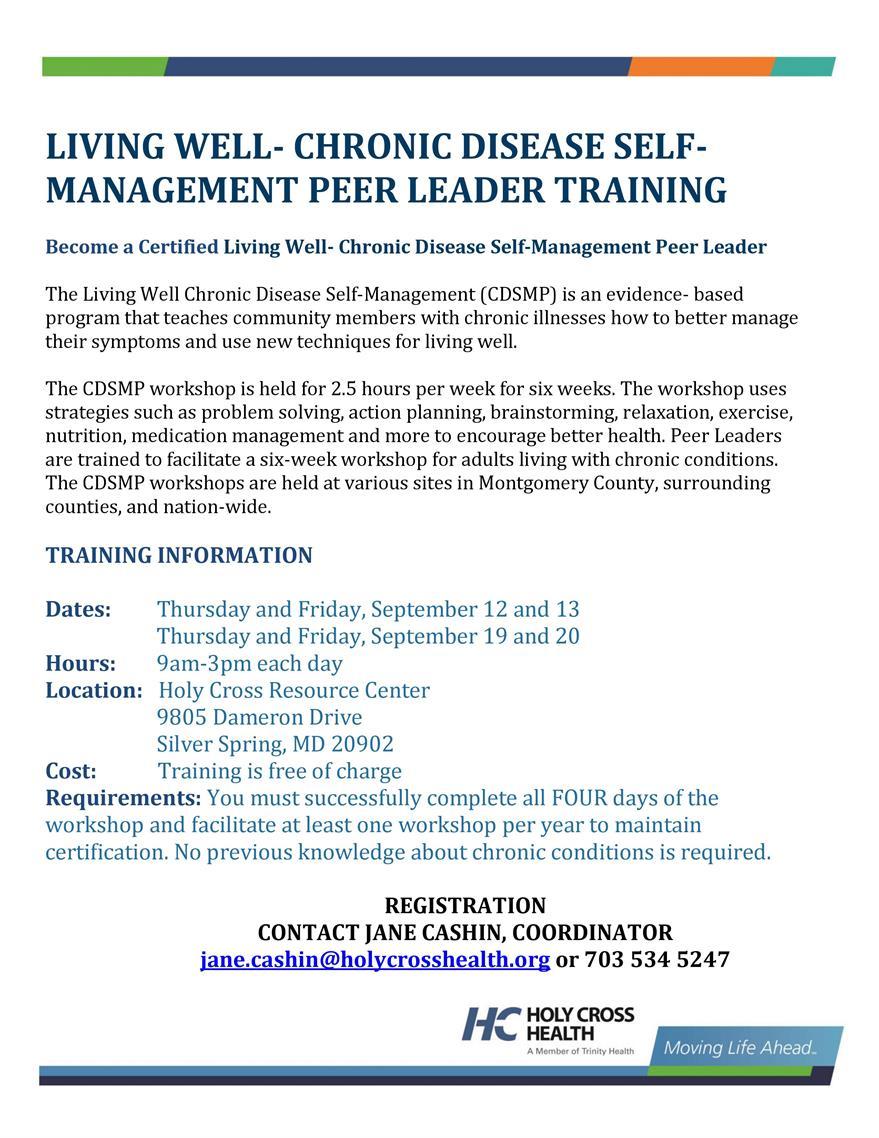 Chronic Disease Self-Management Peer Leader Training