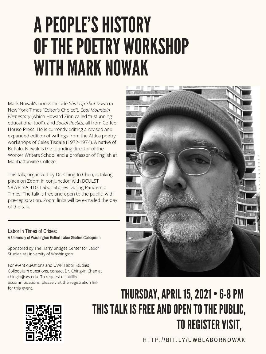 """Labor in Times of Crises Colloquium: """"A People's History of the Poetry Workshop,"""" w/Mark Nowak"""