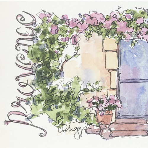 Postcard from Provence in Watercolor