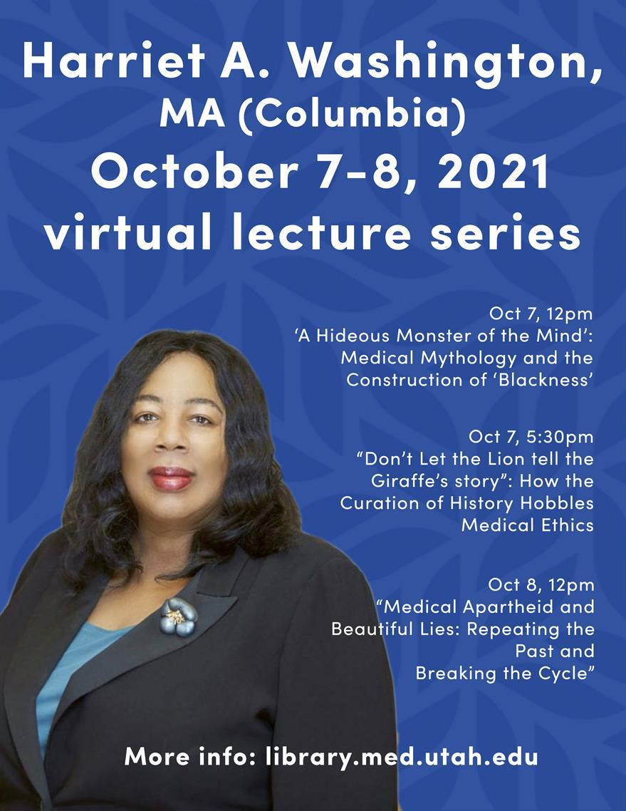 Harriet A. Washington, MA (Columbia) virtual lecture series