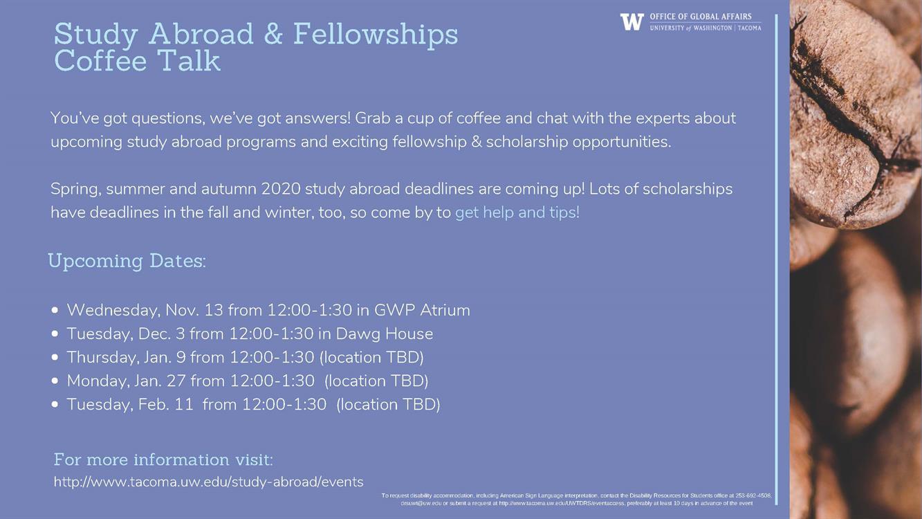 Study Abroad & Fellowships Coffee Talk